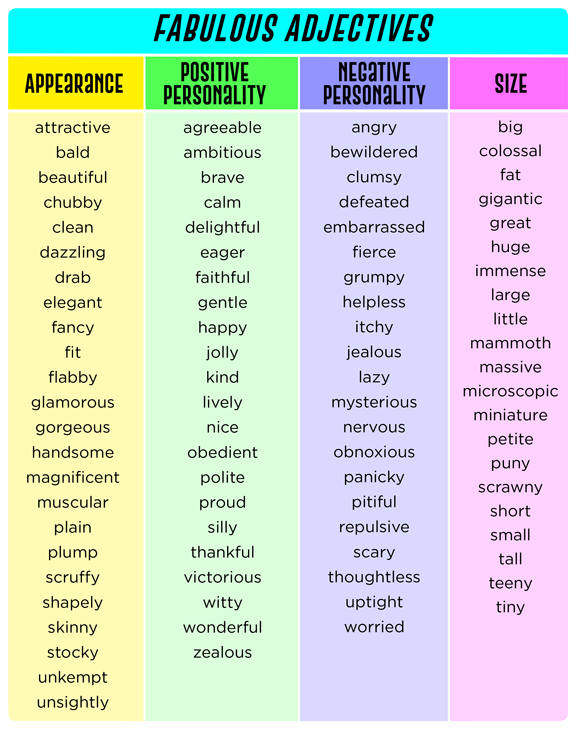 list of adjectives | Speech Therapy Ideas | List of