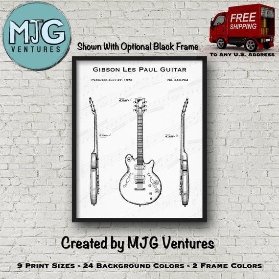 Gibson Les Paul Guitar Patent Art Print - 1976 Gibson Guitar Poster Art - Guitar Blueprint Art - Guitar Player Gift - Music Teacher Gift #gibsonguitars