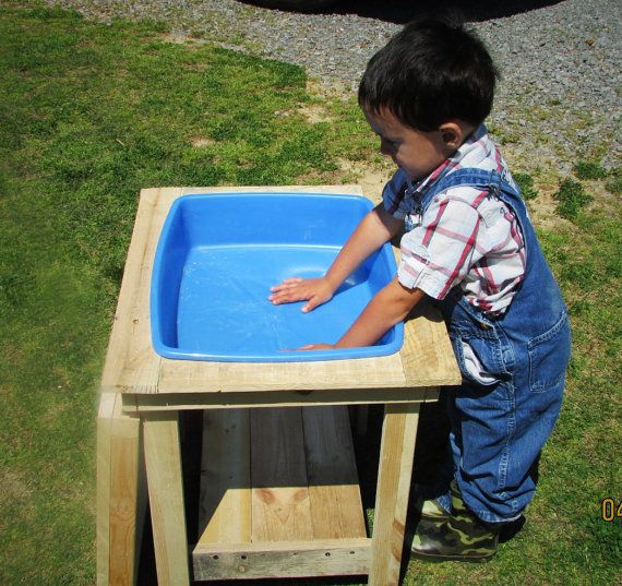 Kids Size Water Table, Art Table With Lid And Sturdy Shelf At Bottom. Wood