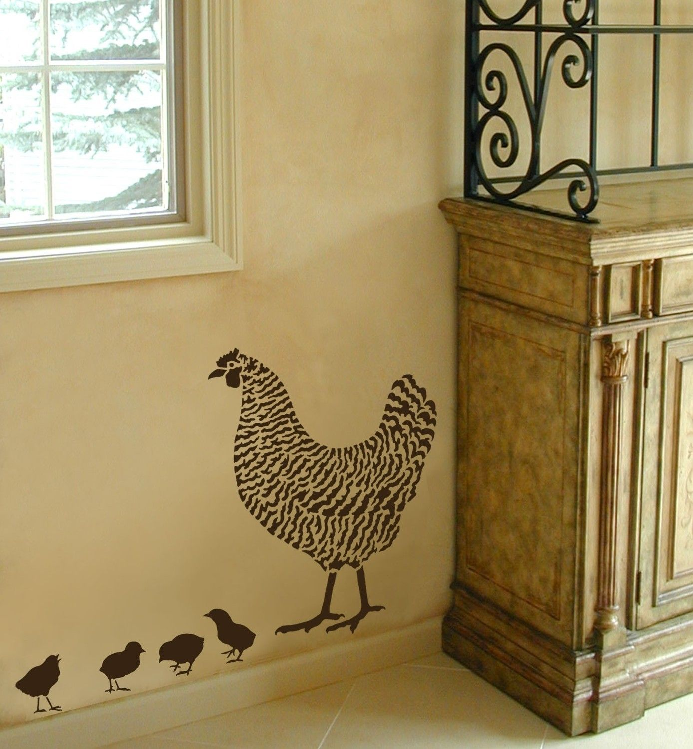 dominique chicken stencil 2 overlays - easy wall decor with