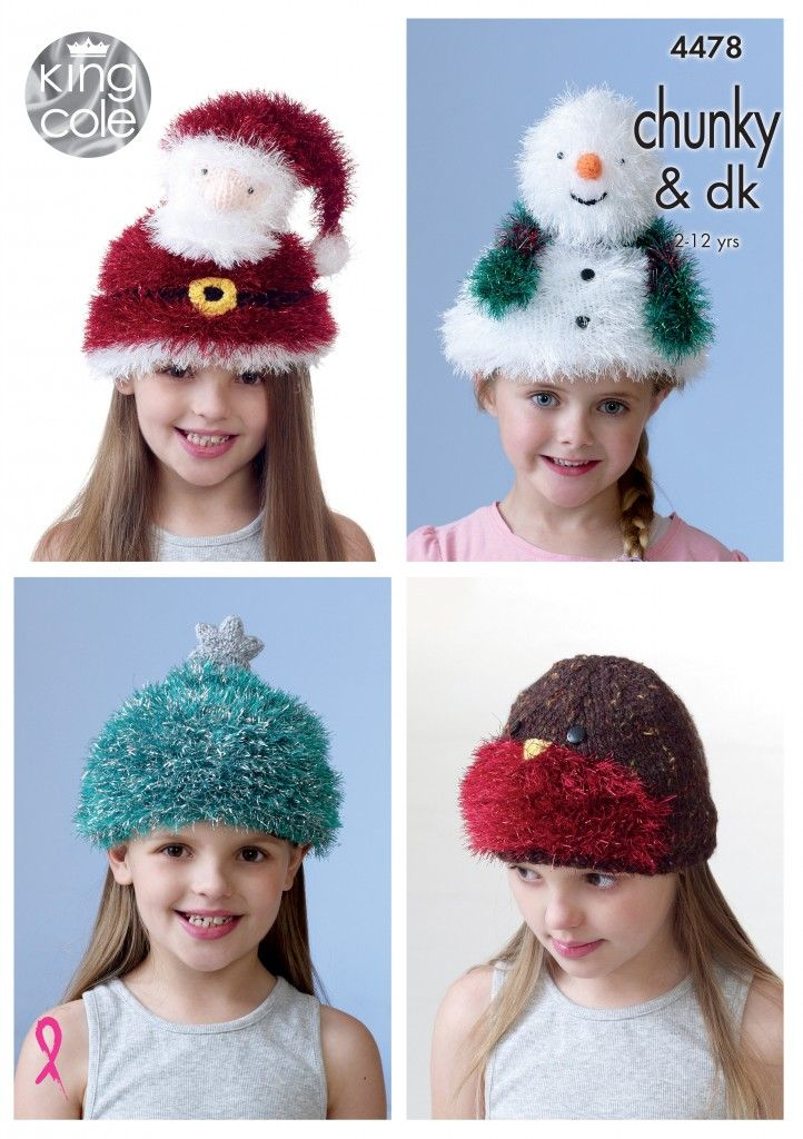 Kid's Novelty Hats Knitted with Tinsel Chunky - King Cole #christmashat