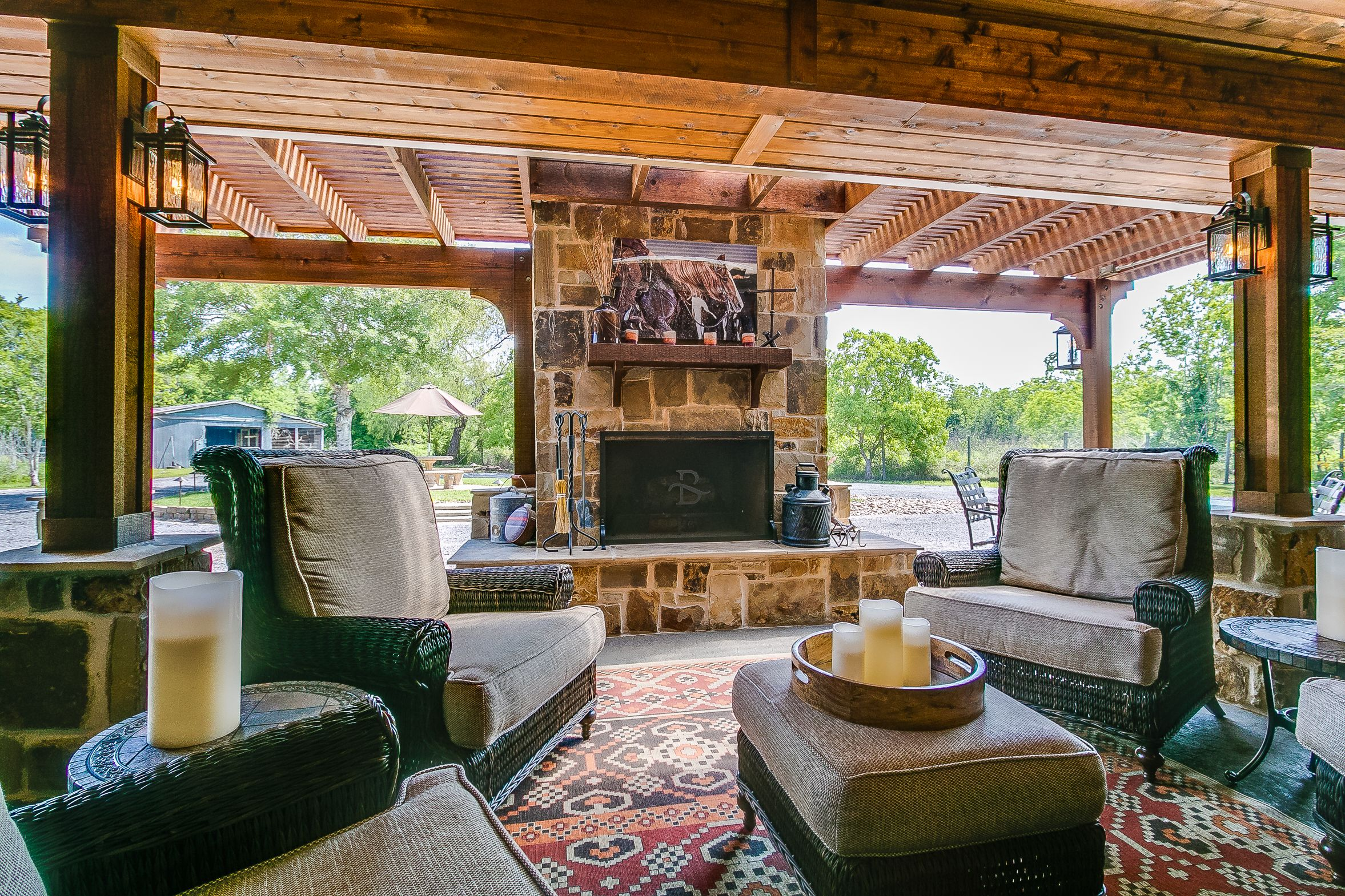 Custom outdoor retreat, complete with an outdoor fireplace ... on Retreat Outdoor Living id=69608