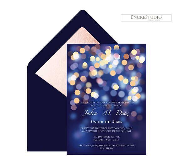 under the stars printable quinceanera invitation printable sweet
