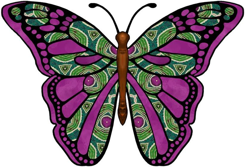 ArtbyJean - Paper Crafts: Butterflies from set - A-39 - Emerald green and purple.