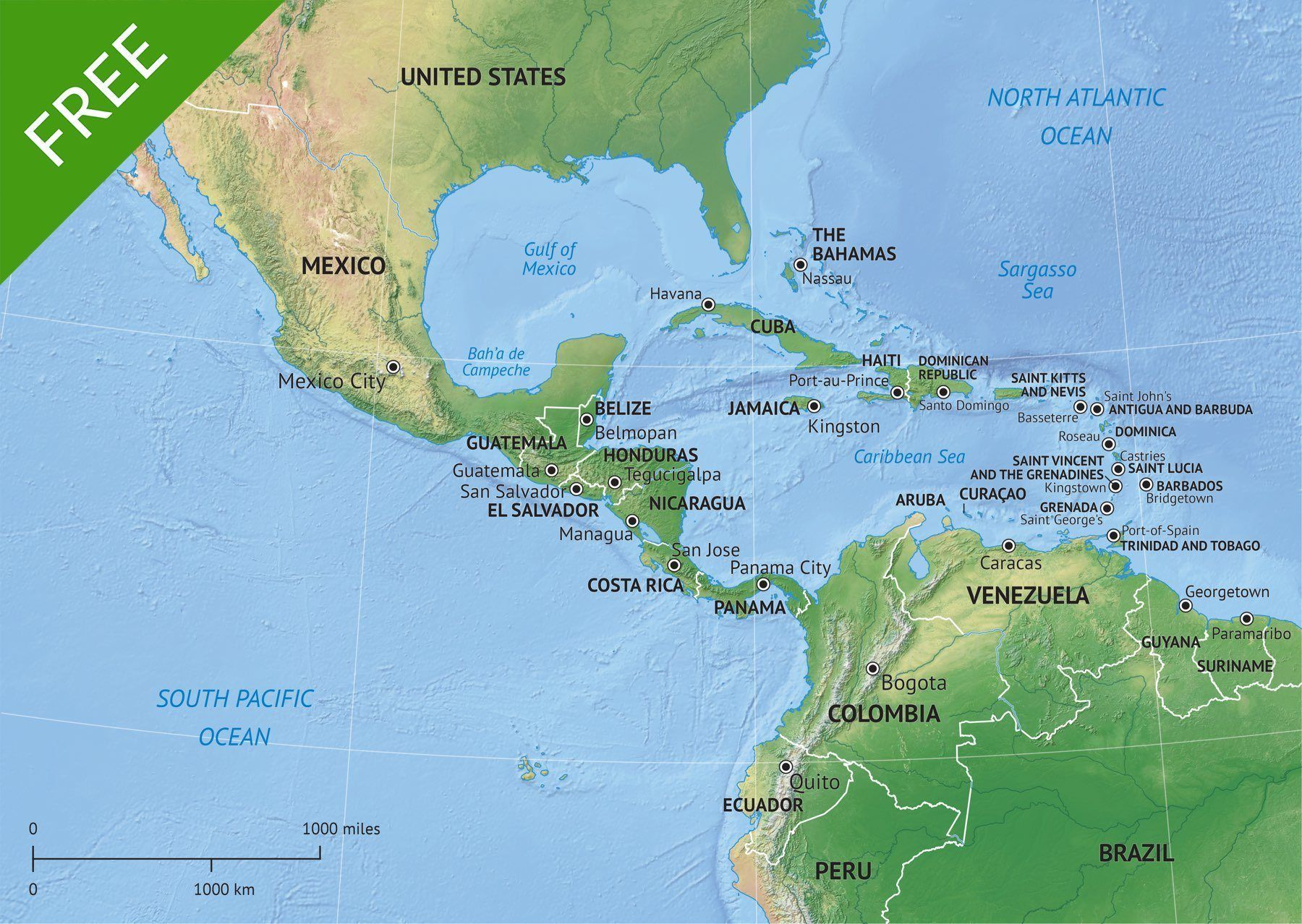 Free Vector Map MiddleCentral America Central America And Middle - World map blank illustrator