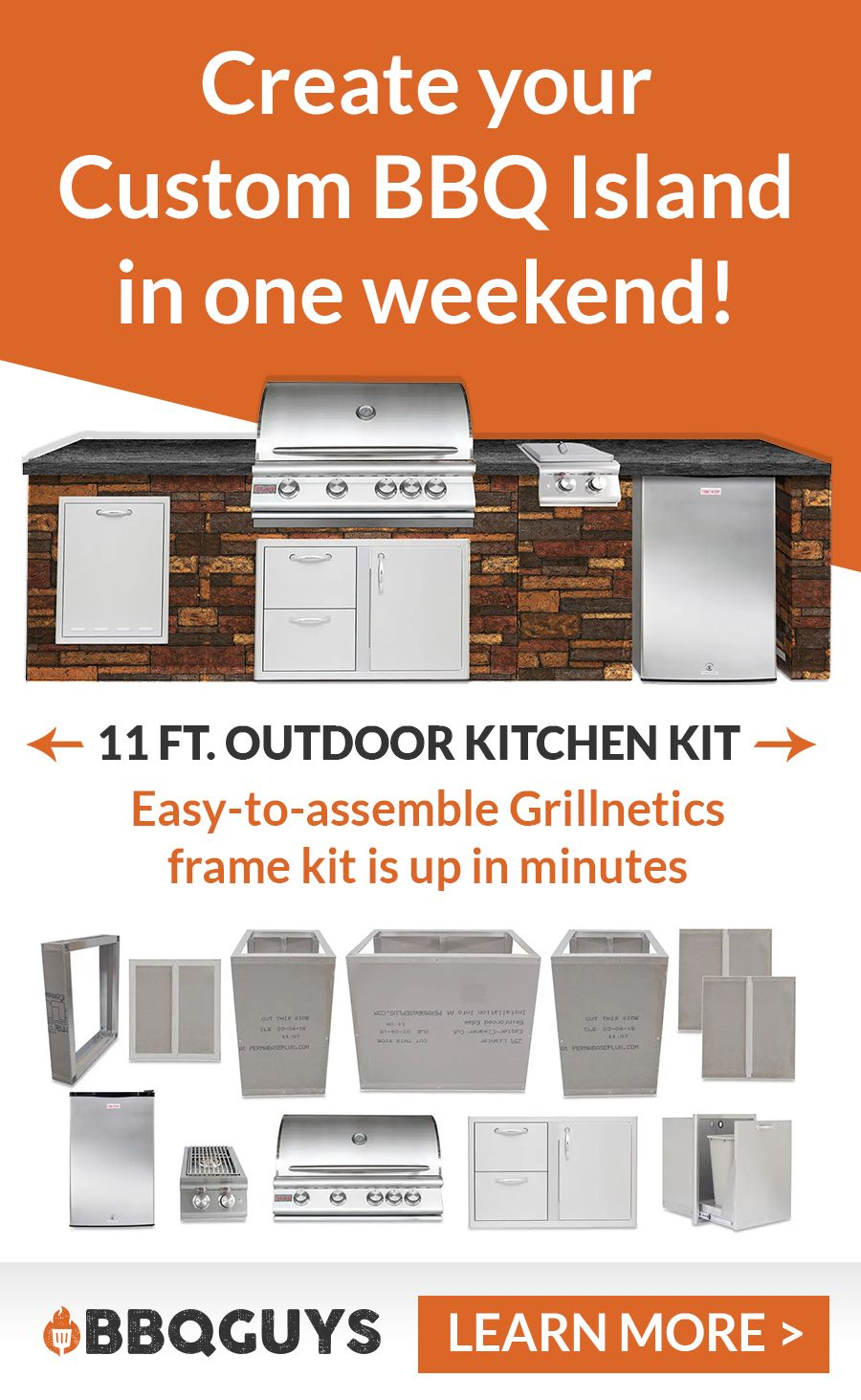 This 12 Piece Blaze And Grillnetics Bbq Island Outdoor Kitchen Package Has Everything You Need To Crea Outdoor Kitchen Kits Outdoor Kitchen Diy Outdoor Kitchen