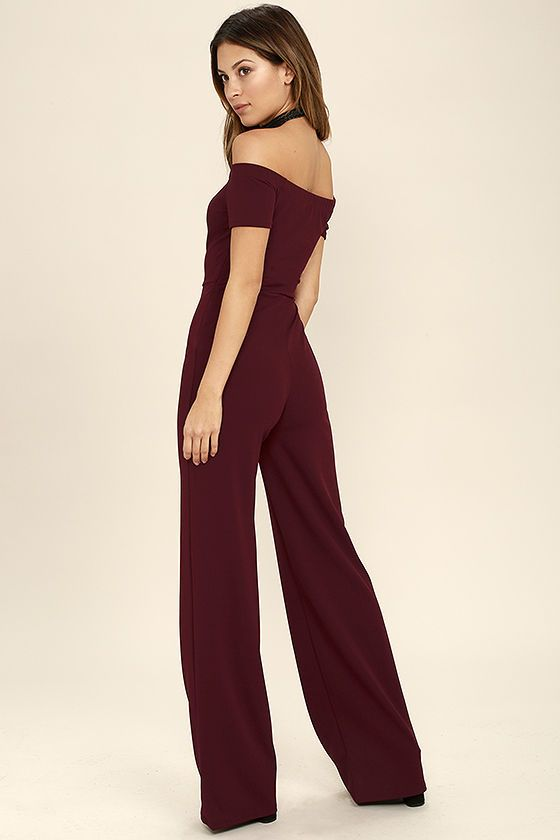 d35b194e998d Any outfit involving the Alleyoop Burgundy Off-the-Shoulder Jumpsuit is  sure to be a stylish slam dunk! Stretch knit forms a trendy off-the-shoulder  ...
