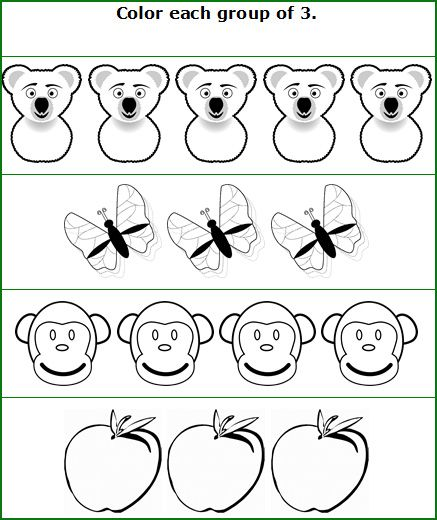 Counting coloring pages for kindergarten