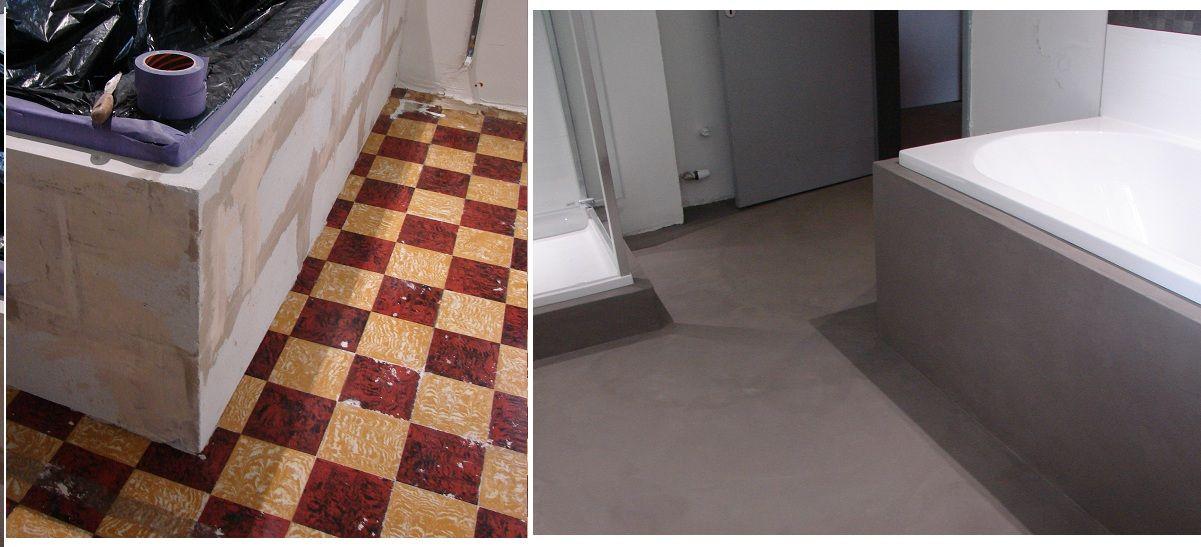 b ton sur carrelage au sol et habillage baignoire et bac a douche avant apr s b ton cir. Black Bedroom Furniture Sets. Home Design Ideas