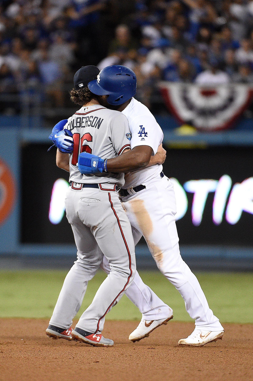 Dodgers Yasiel Puig Kisses Braves Shortstop After Being Thrown Out Braves Dodgers Yasiel Puig