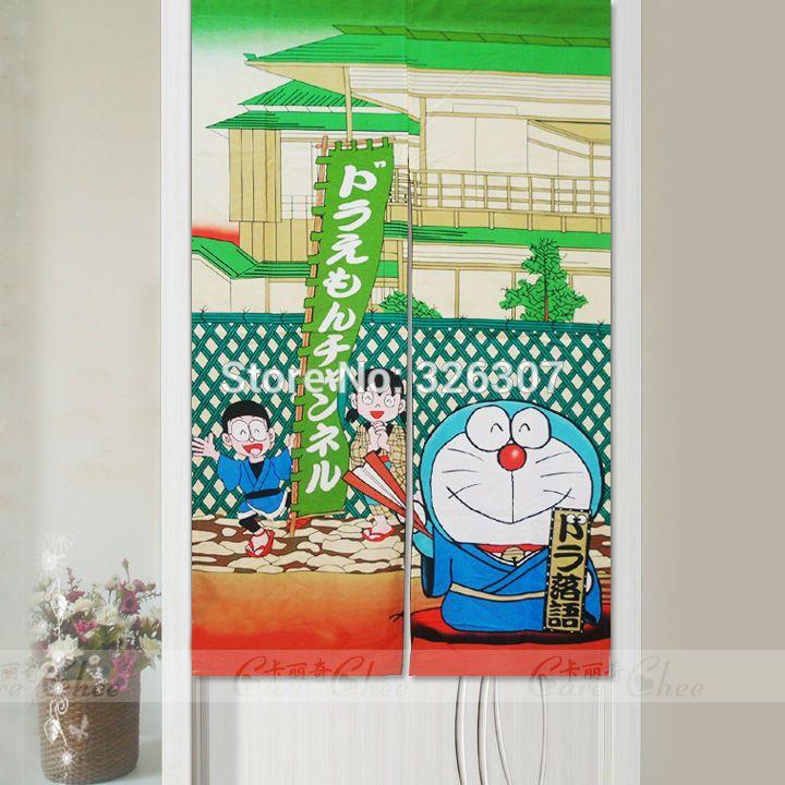 Japanese Noren Cartoon Robocat Doraemon Embellished 85cmx150cm 100%  Polyester Thicken Door Curtain Japan Copycat