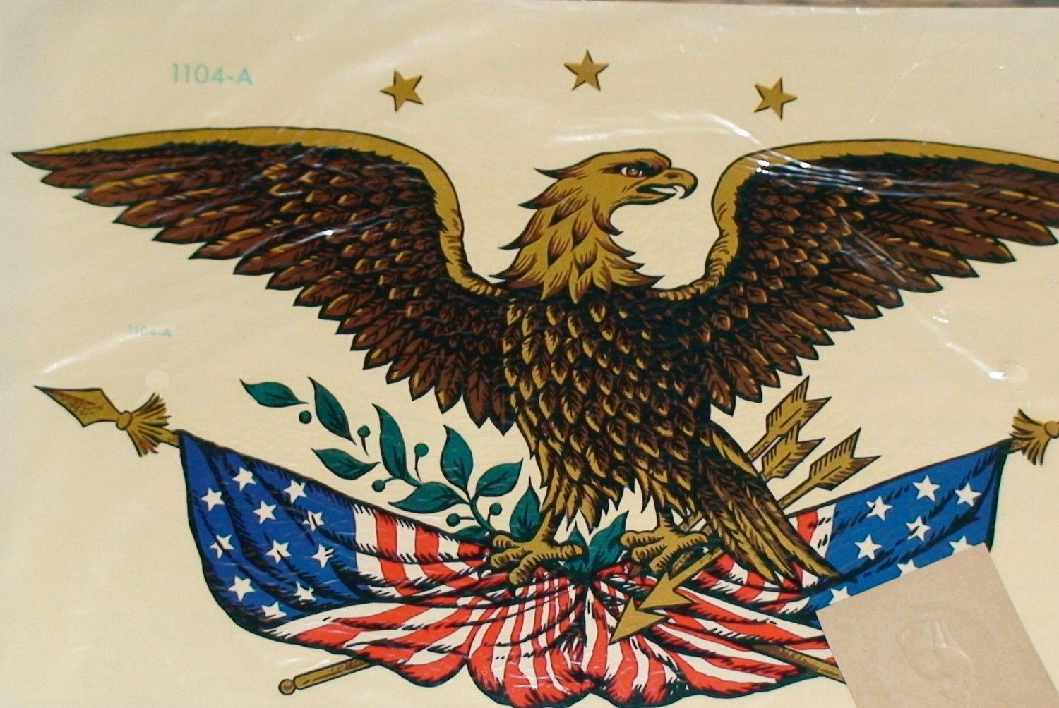 Two Vintage Patriotic American Eagle Decals By