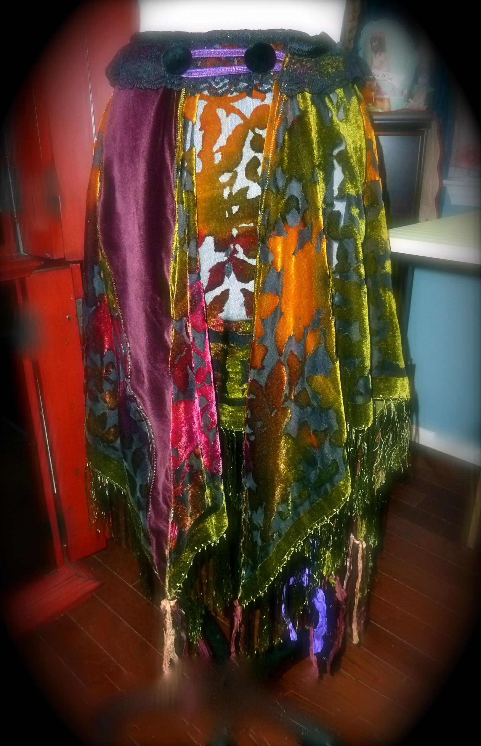 ~Purple Haze~  Bohemian Gypsy Boho Burnout Velvet Wrap Skirt