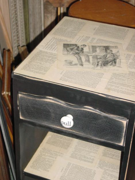 Decoupage Book Pages Onto Furniture