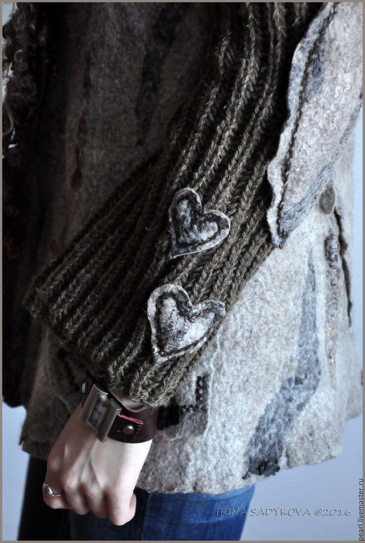 """Купить Жакет """"Каналы Питера"""" - коричневый, серый, натуральный, жакет, куртка, вязаные рукава, войлок"""