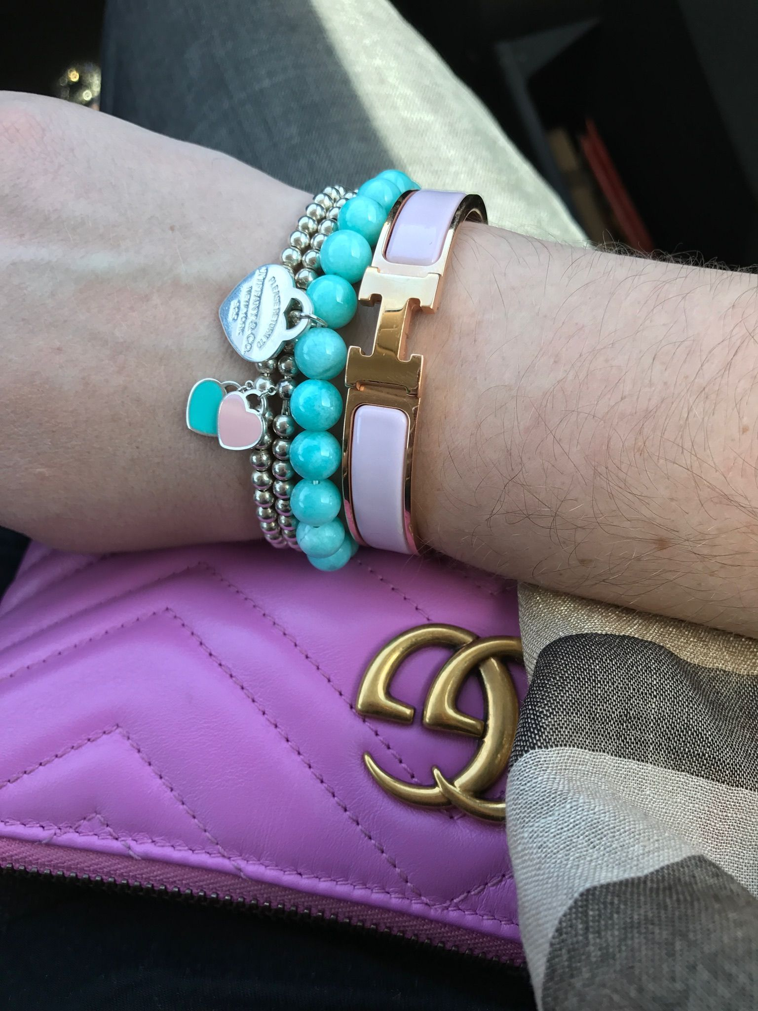 Tiffany Heart Bracelet >> Tiffany bead bracelet stack, Tiffany blue beads, Hermes pink clic clac, pink Gucci crossbody ...