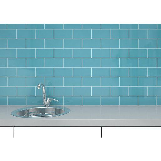 Wickes Cosmopolitan Gloss Duck Egg Ceramic Wall Tile 100x200mm