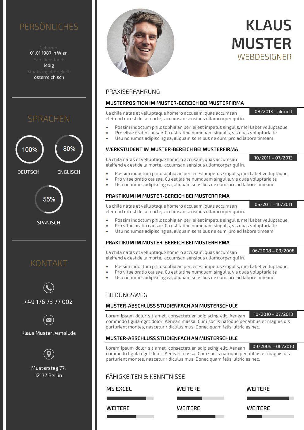 44 Lebenslauf Muster Vorlagen Für Die Bewerbung 2015 Resume D