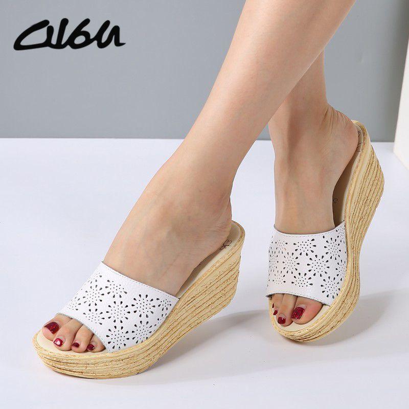 Cheap O16U Mujeres Mulas Zuecos Zapatos Slip on de Cuero Peep Toe damas  Sandalias de Cuña Sandalias de Corcho Sandalias de Plataforma Zapatos de  Los Planos ... b313a7eae9d