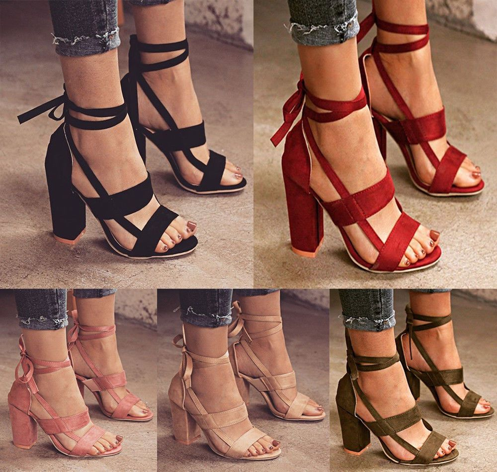 Fashion Womens Ladies High Block Heel Open Peep Toe Lace Up Sandals Party