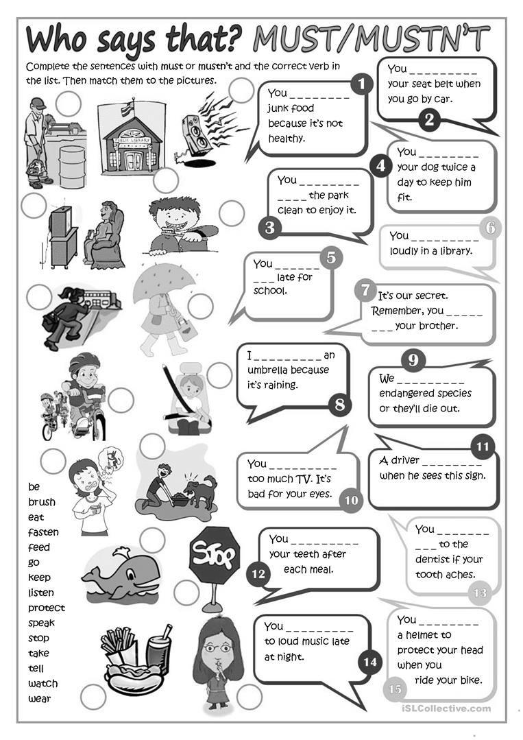 Modal Verbs Must Or Mustn T Worksheet Free Esl Printable Worksheets Made By Teachers Verbs For Kids Grammar For Kids Verb [ 1079 x 763 Pixel ]