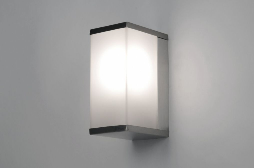 Wandleuchte 30372: modern, Kunststoff Kunststoffglas, Stahl rostbestaendig, rechteckig