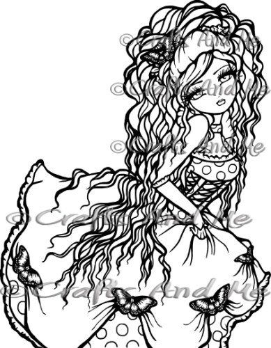Digital Stamp Instant Download Annabelle Fantasy Line Art For Cards Crafts By Exclusive Artist Hannah Lynn Digital Stamps Color Me Badd Colouring Pages