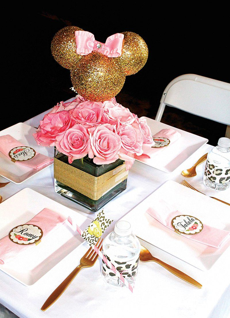 Glittery glam minnie mouse birthday party