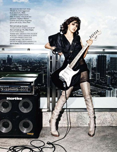 Genelia D'Souza in Christian Dior Thigh High Boots. Vogue India, 12.2010.