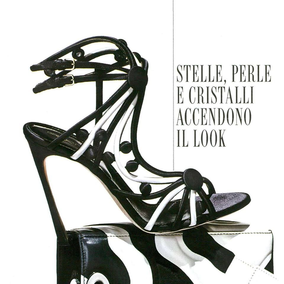 Tuxedo black and white satin sandal from Fall/Winter 15-16 Collection for Grazia Italy. #sergiorossi