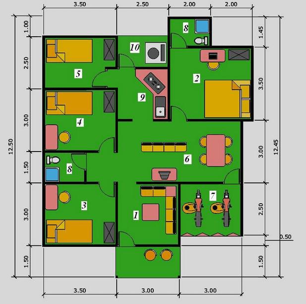 Ini 16 Contoh Gambar Denah Rumah Minimalis Beserta Keterangannya Denah Rumah 4 Kamar Tidur Denah Rumah Rumah Minimalis