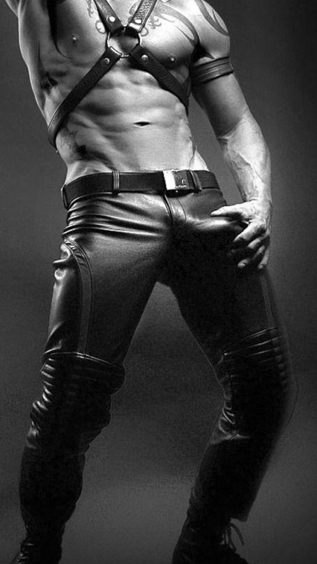 Pin on Men in Leather Big Bulge