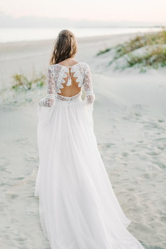 Long Sleeve bohemian wedding dress, boho wedding dress, lace wedding dress, backless wedding dress, open back wedding dress, chiffon dress #romanticlace