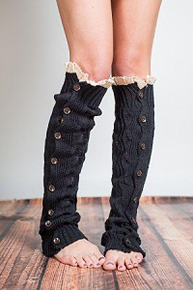 c422f77f28 Womens Button Lace Cuff Warm Knit Boot Leg Warmers Socks Leggings Black  Brown