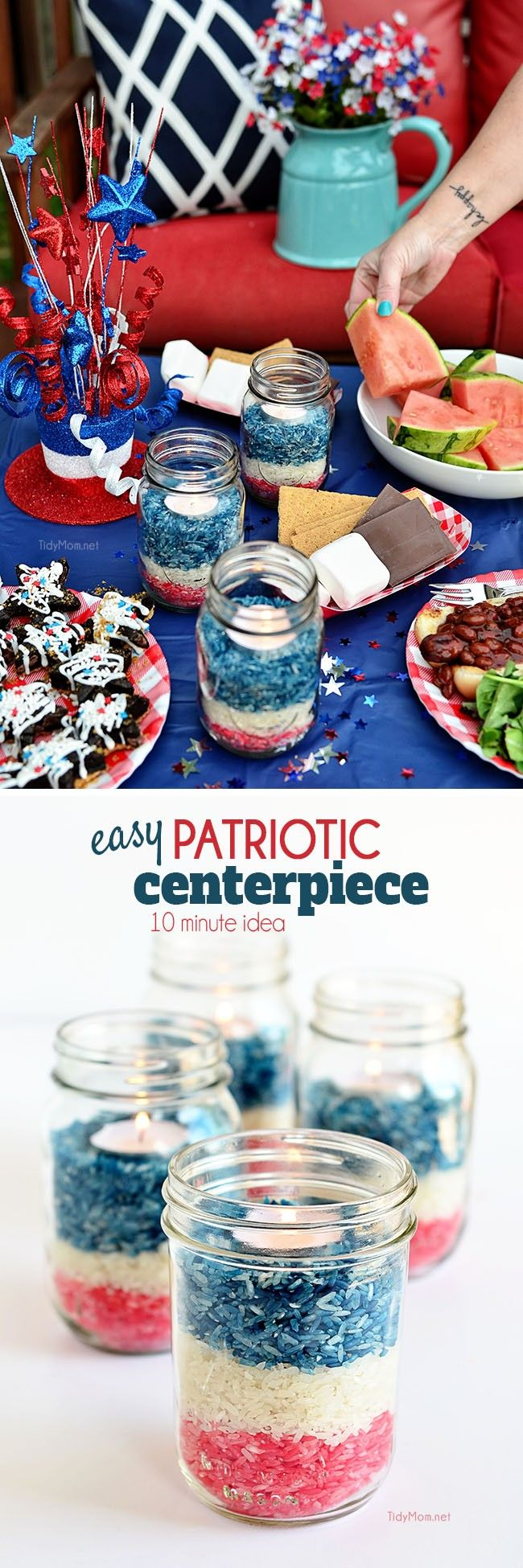 Patriotic colored rice jars centerpiece pinterest colored rice