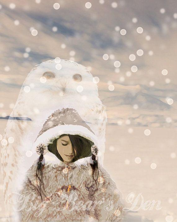 Snow Goddess with Spirit Owl, snowflakes, ice, art, Native American influence