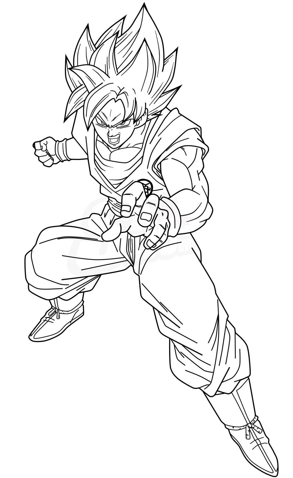 Goku SSJB - Lineart by SaoDVD on DeviantArt | Goku drawing ...