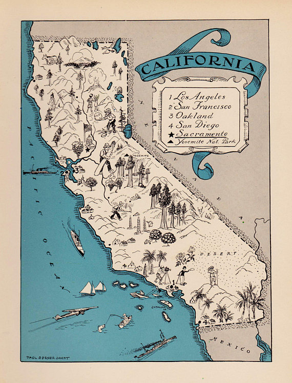 1930 S Vintage California Picture Map Pictorial State Cartoon Map