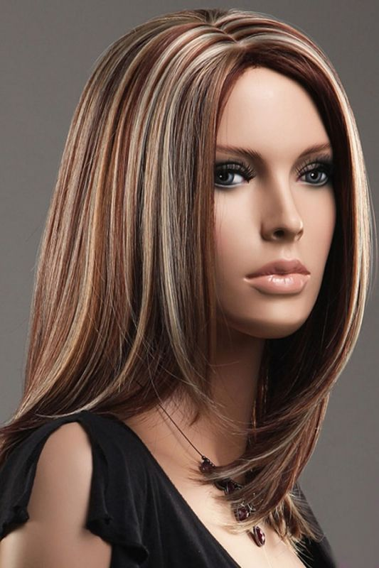 Brown Blonde Straight Mid Length Highlights Hair Wig Us 63 98 Medium Length Hair Styles Hair Styles Blonde Highlights