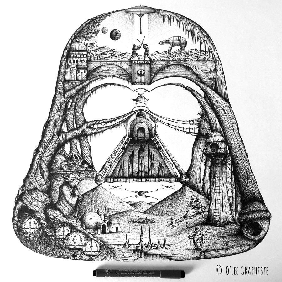 The Star Wars Universe in Darth Vader\'s helmet - created by O\'lee ...