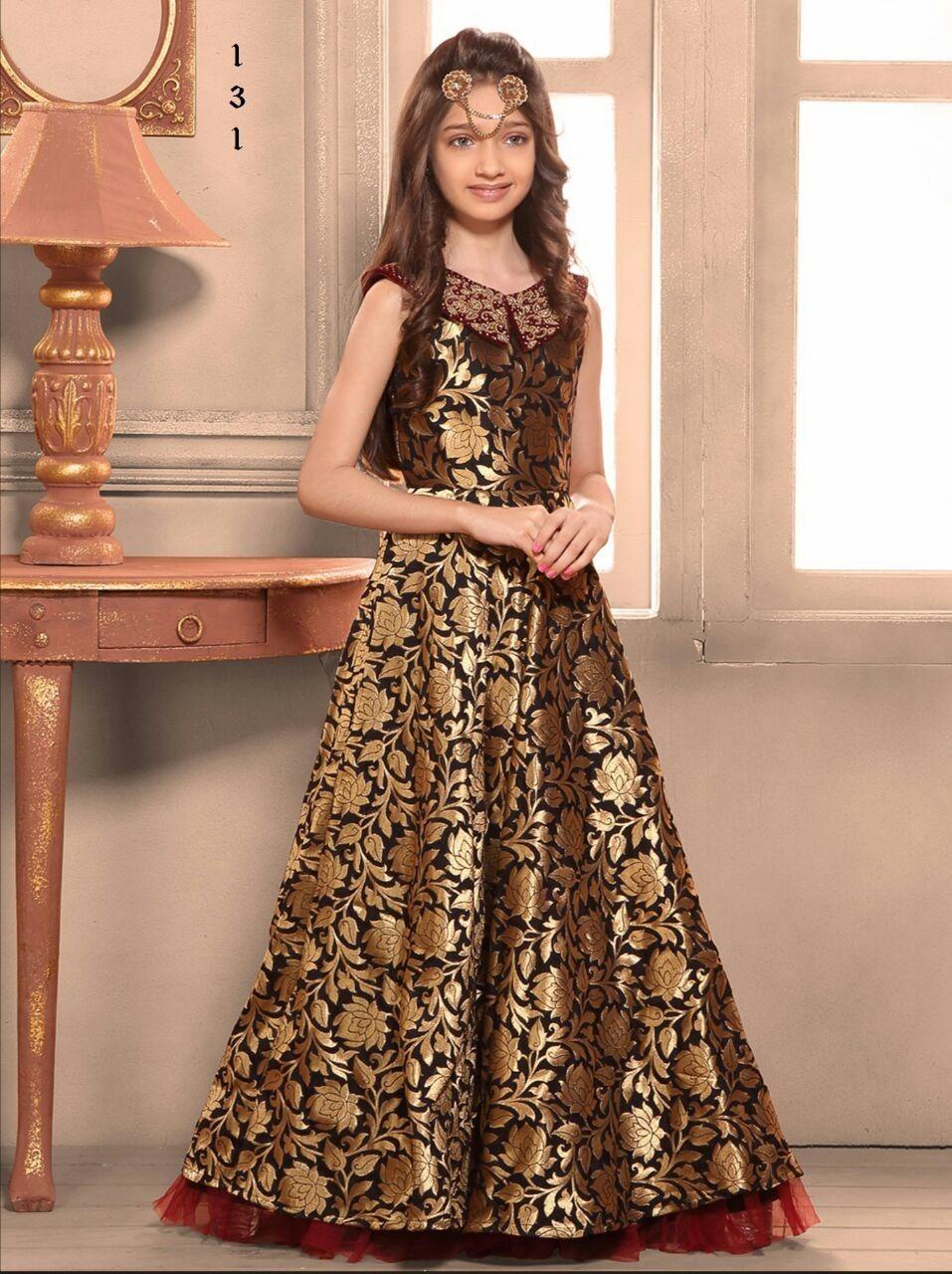 Gold black stitched jacquard designer lehenga for kids for Kids dress fabric