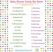 Candy Bar Baby Shower Game Answer Key