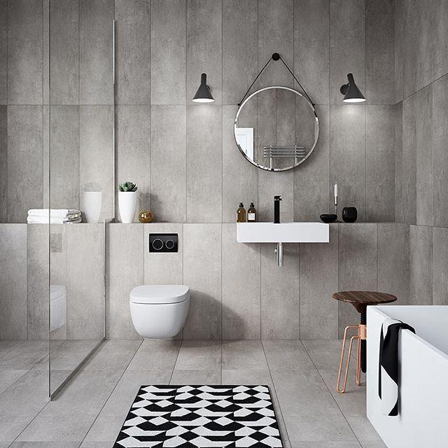 """Photo of Rørkjøp.no on Instagram: """"Flott monokrom stil på dette badet, med grå fliser og hvite VVS produkter med en touch av sorte detaljer. Betjeningsplaten i sort er fra…"""""""