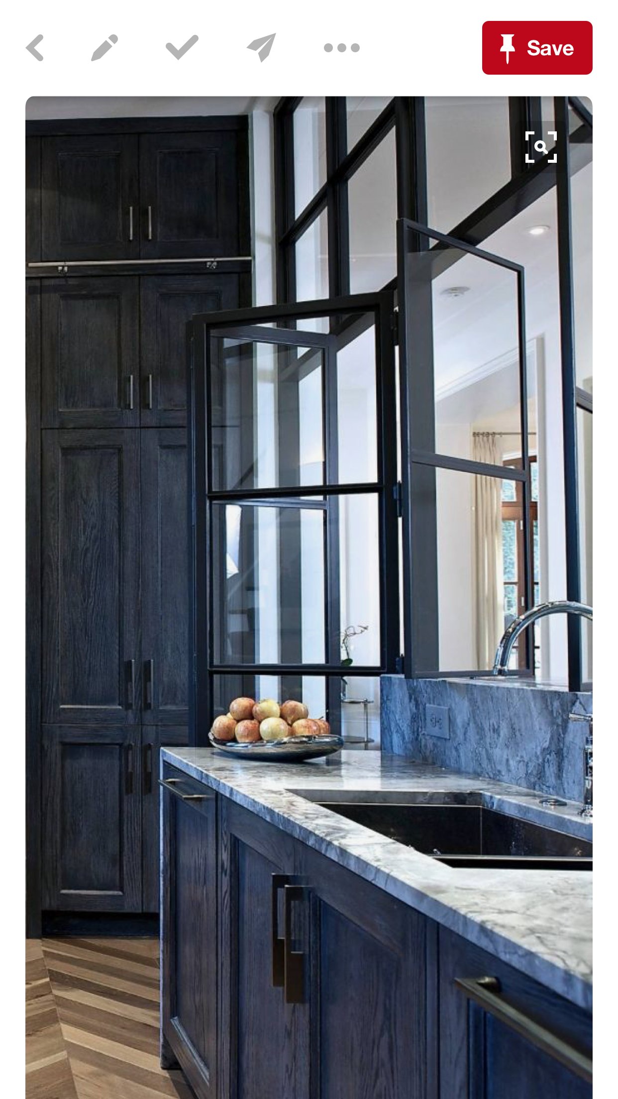 Black Cerused Oak Kitchen Cabinets With Iron Accents In