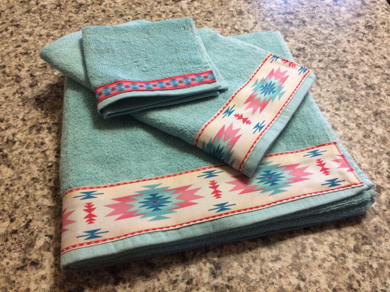 Western Towels Teal Bath Western Bathroom Western Housewarming