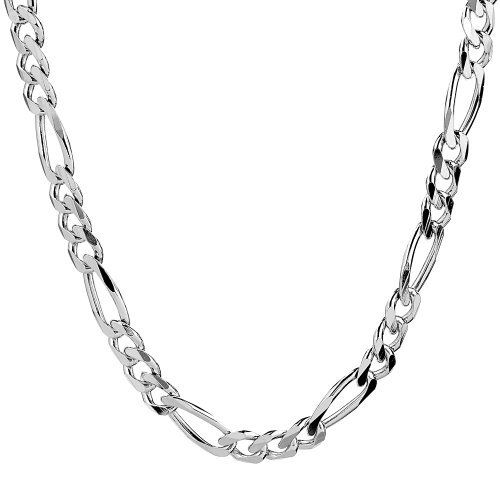 4b6c47c24d8a Men s Sterling Silver Italian 6.80 mm Solid Figaro Link Chain Necklace