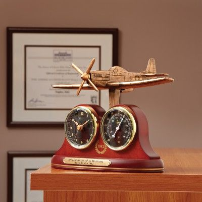 P 51 Mustang Tribute Desk Clock And Thermometer
