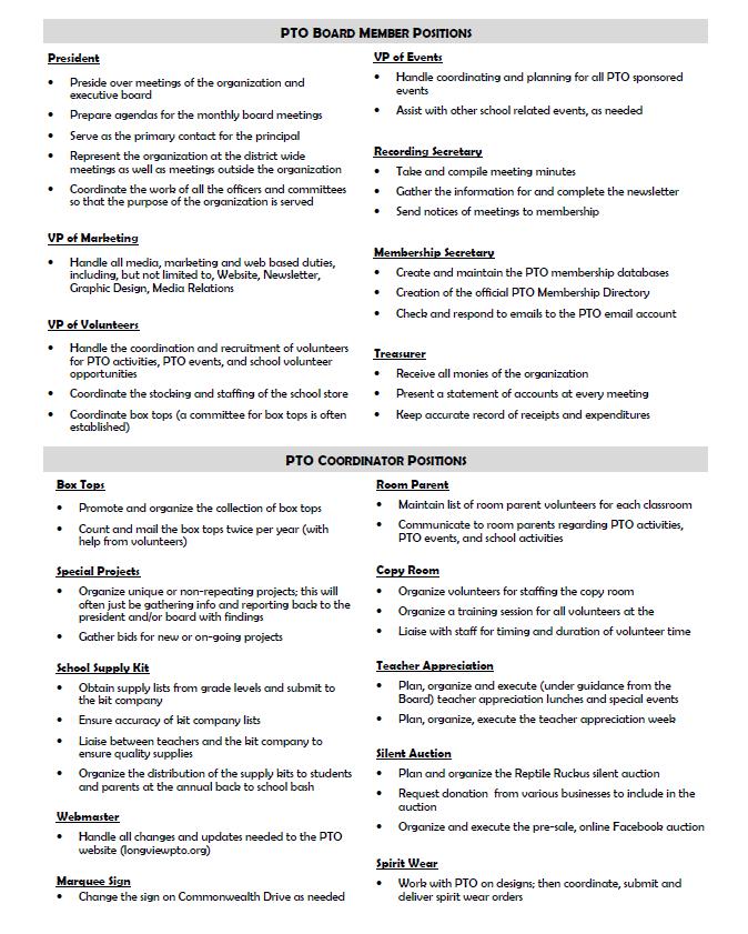 Longview PTO - Board and Coordinator Roles | PTA | Pta