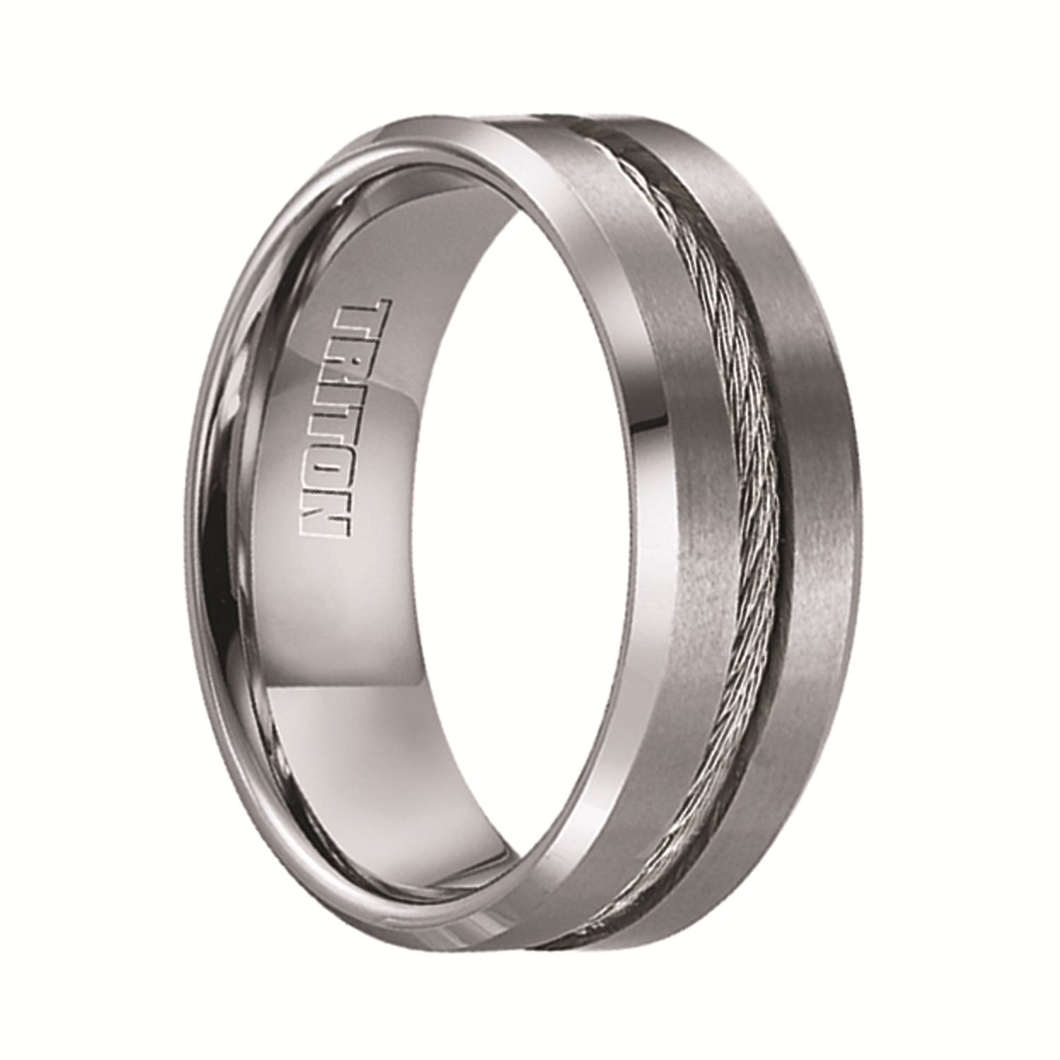 Triton Rings CURTIS Tungsten Wedding Band with Steel Cable Inlay