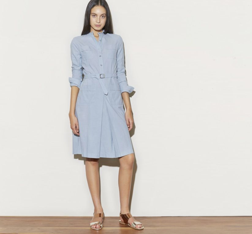 f88475c689 April 2014  A.P.C. Belted Denim Shirt Dress in Pale Blue Chambray. Acne  Studios Lottie Sandal in Metallic Combination.